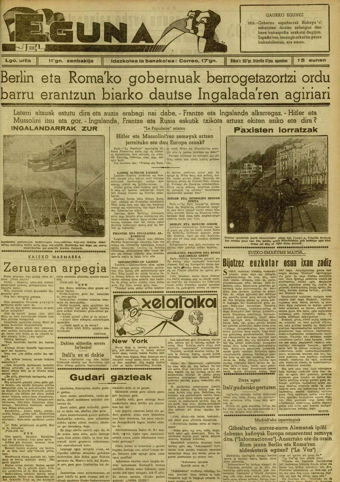 Hitler eta Mussolini�ren zemayak artzen jarraituko ete dau Europa osuak?