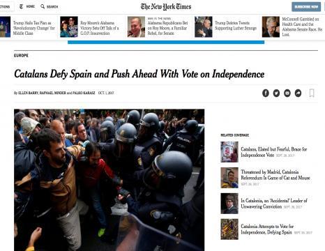 Kataluniako erreferenduma, nazioartean