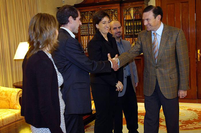 Juan Jose Ibarretxe Jaurlaritzako lehendakariarekin, Ajuria Enean