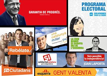 Kataluniako hauteskundeetako alderdien kartelak. ©/ BERRIA.INFO