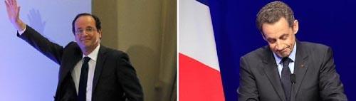 François Hollande eta Nicolas Sarkozy, gauean.