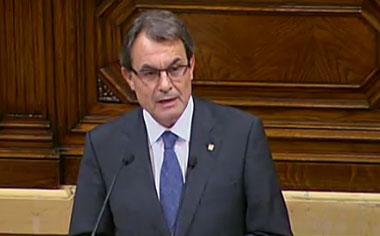 Artur Mas Kataluniako Parlamentuan, gaur arratsaldean.