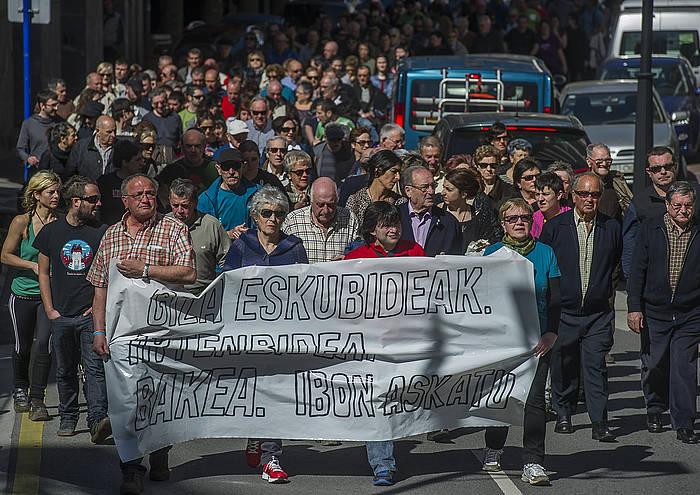 Ondarroan martxoan Iparragirre askatzeko eskatuz egin zen manifestazioa. /