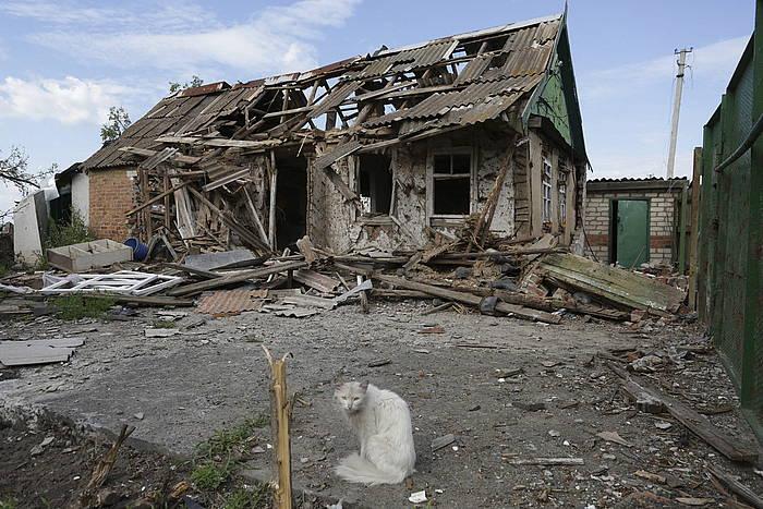 Slovianskeko etxe bat, suntsituta.