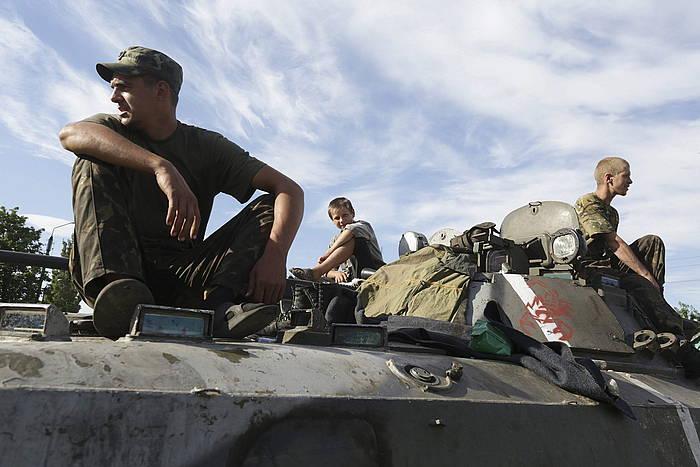Ukrainako soldaduak, Donetsk inguruan.