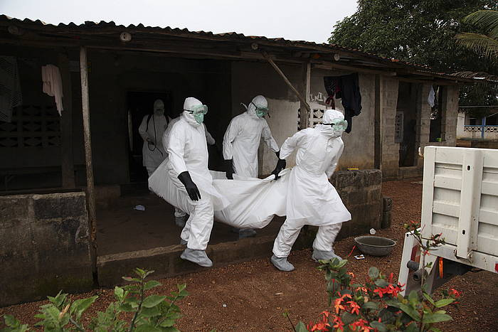 Mediku talde bat ebolak jota hildako baten gorpua eramaten, Morovian (Liberia).