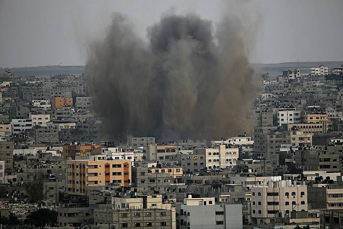 Leherketa bat Gaza hirian. Bart gauean sartu zen indarrean hiru eguneko su-etena.