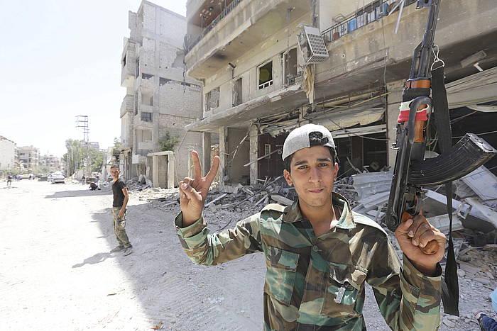 Siriako armadako soldadu bat, Damaskon.