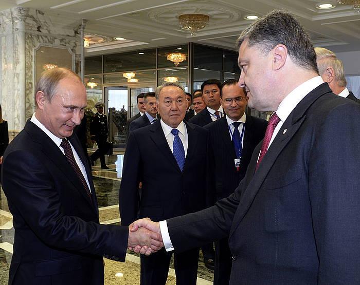 Putin eta Poroxenko, Minsken.