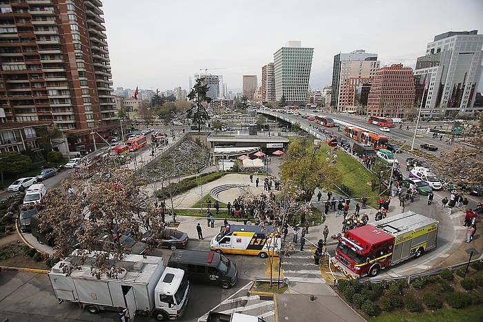 Santiagon erasoa izandako lekua, anbulantziak eta Polizia bertan direla.