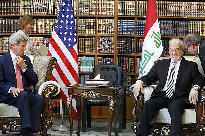 John Kerry AEBetako Estatu idazkaria Ibrahim al Jafari Irakeko Atzerri ministroarekin. /