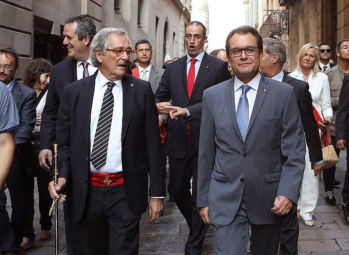 Xavier Trias Bartzelonako alkatea eta Artur Mas Generalitateko presidentea, gaur, Kataluniako hiriburuan.