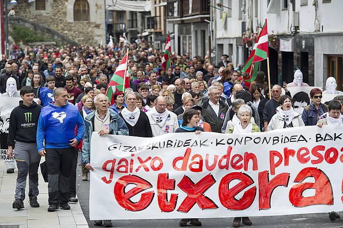 Ondarroan aurten preso gaixoen eskubideen alde egindako manifestazioa.