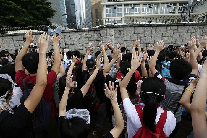 Manifestariak Hong Kongen. /
