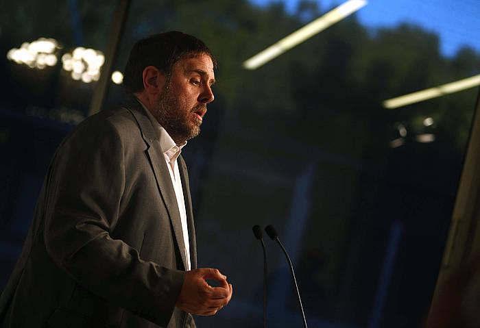 Oriol Junqueras (ERC), arratsaldean egindako agerraldian. /