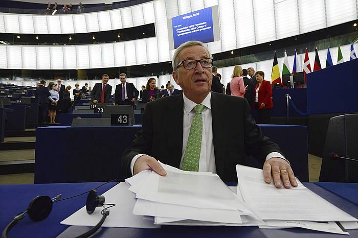 Jean-Claude Juncker gaur, Europako Parlamentuan. /