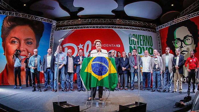 Dilma Rousseff, hauteskundeetan irabazi ondorengo hitzartzean.
