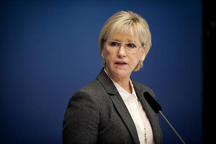 Margot Wallstrom Suediako Kanpo Harremanetarako ministroa, erabakiaren berri emateko egindako agerraldian.