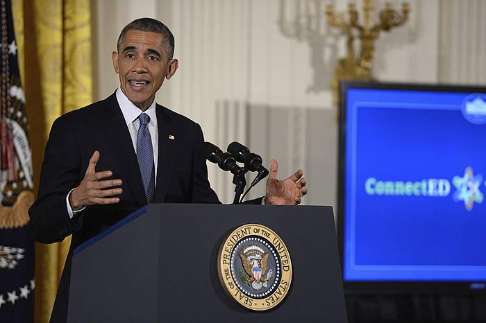 Barack Obama AEBetako presidentea, Washingtonen emandako hitzaldi batean.