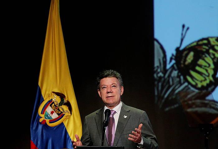 Juan Manuel Santos Kolonbiako presidentea, artxiboko irudi batean. /