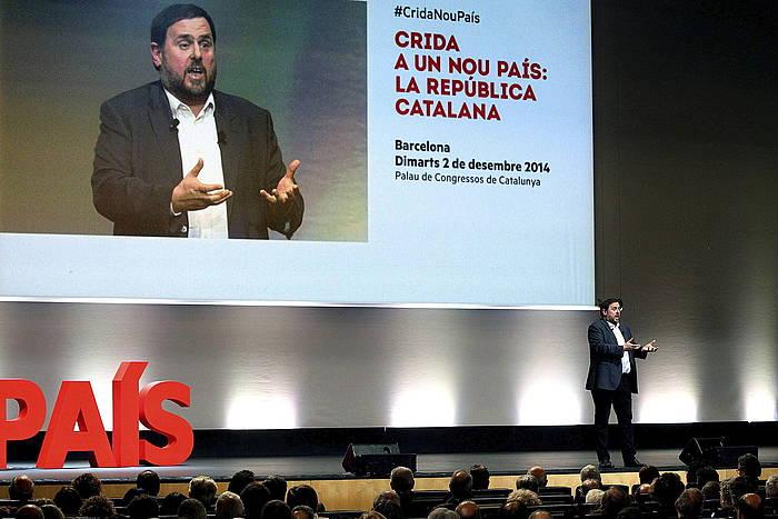 Oriol Junqueras ERCko presidentea, atzoko aurkezpenean.