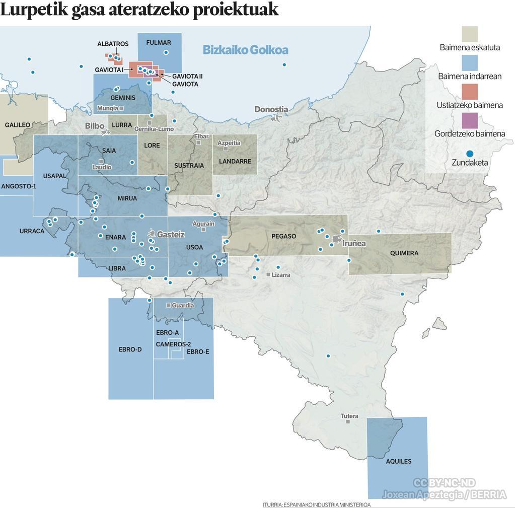 Euskal Herriko fracking-aren mapa.