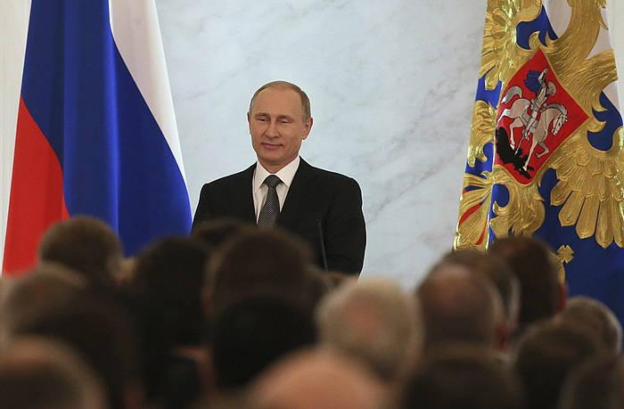 Vladimir Putin, hitzaldia ematen. /