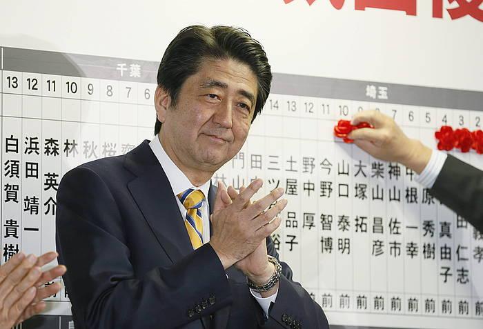 Shinzo Abe, hauteskundeetan nagusitu ostean.