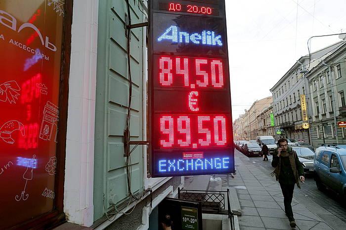 Errubloaren eta euroaren arteko trukearen prezioa, Moskun.