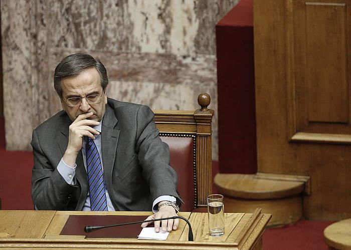 Antonis Samaras Greziako lehen ministroa, bozketan. /