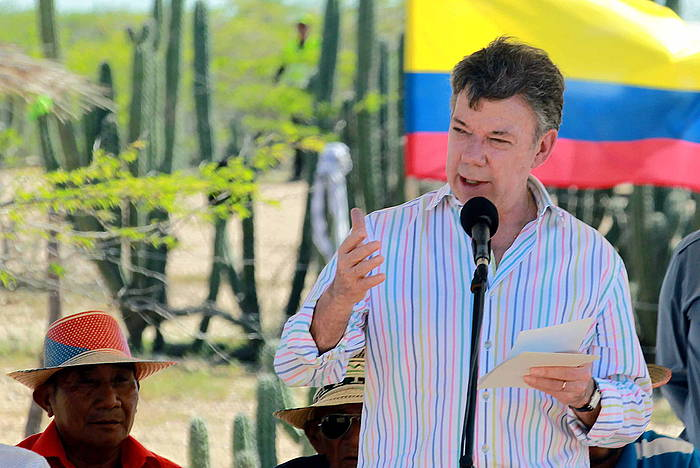 Juan Manuel Santos Kolonbiako presidentea, pasa den astean. /