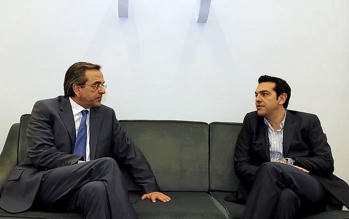 Antonis Samaras eta Alexis Tsipras Demokrazia Berria alderdi kontserbadoreko eta Syriza ezkertiarreko buruak, 2012an.