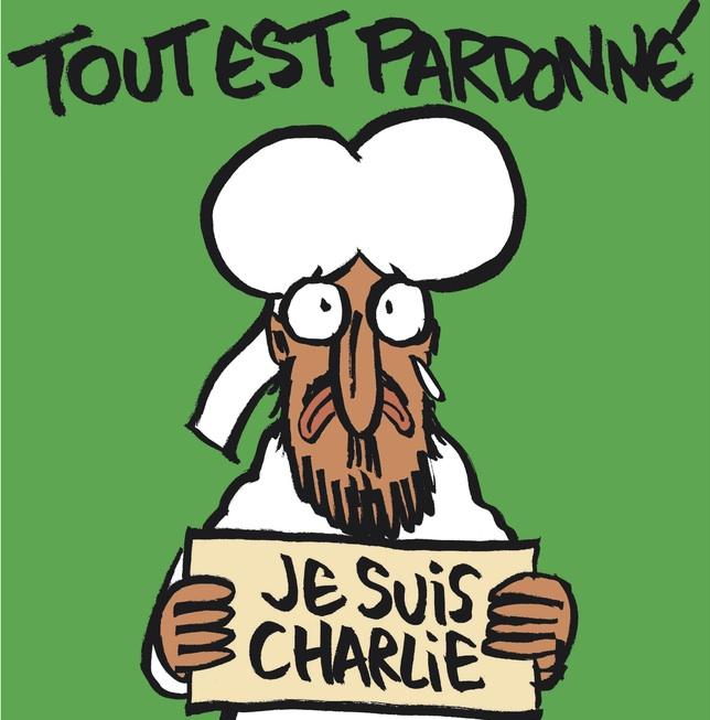 'Charlie Hebdo' astekariak erasoaren ostean argitaratuko duen lehen zenbakiaren azala.