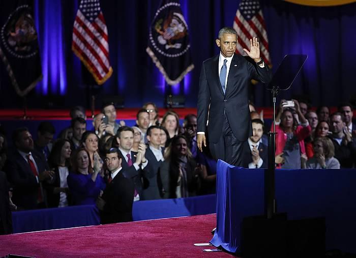 Barack Obama, bart, agur hitzaldia eman aurretik.