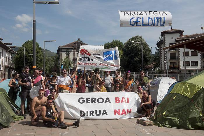 Aroztegiako proiektuaren aurka duela astebete Elizondon egin zuten protesta. /