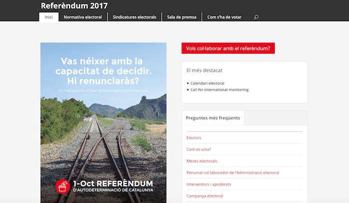 Kataluniako Gobernuak erreferendumari buruzko informazioa zabaltzeko ireki duen webgunearen azala