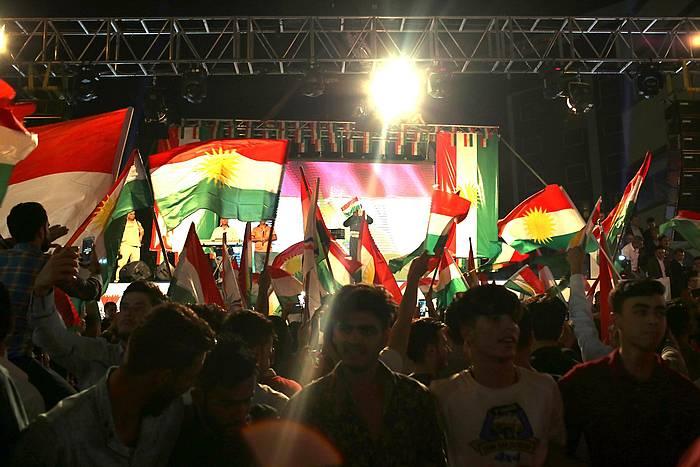 Erreferendumaren aldekoak, Erbil hirian, irailaren 9an, kanpainaren hasiera ospatzen. /