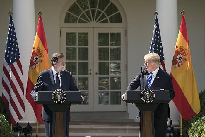 Rajoy eta Trump, gaur, prentsaurrekoan. /