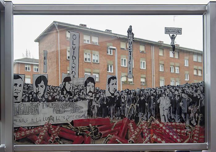 Martxoaren 3ko biktimen oroimez egindako murala, Gasteizko Zaramaga auzoan. /