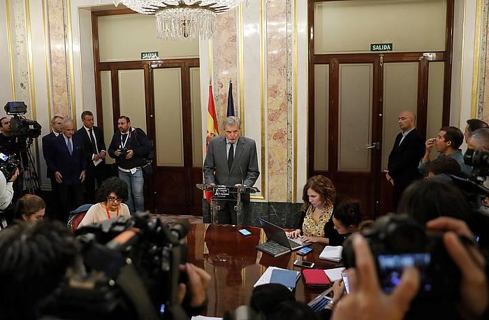 Carles Puigdemont Kataluniako presidentea, gobernu bilera batean. / ©Andreu Dalmau, EFE