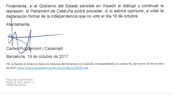 Puigdemonten gutunaren amaiera. / ©BERRIA