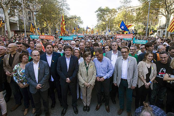 Generalitateko kideak, gaur, manifestazioan. / ©Quique Garcia, EFE