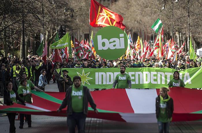 Independentistak Sarearen manifestazio Iruñean, duela bi urte Aberri Egunean. /