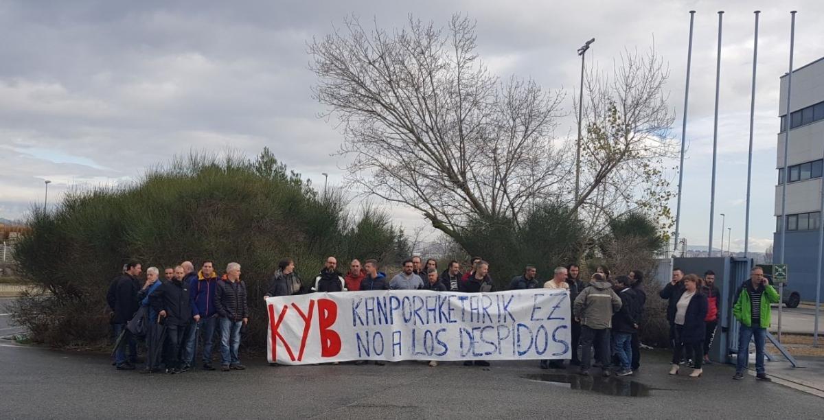 Langileen protesta bat Orkoiengo Kayaban.