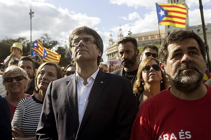 Puigdemont eta Sanchez, iazko Diadan. / ©Quique García, Efe