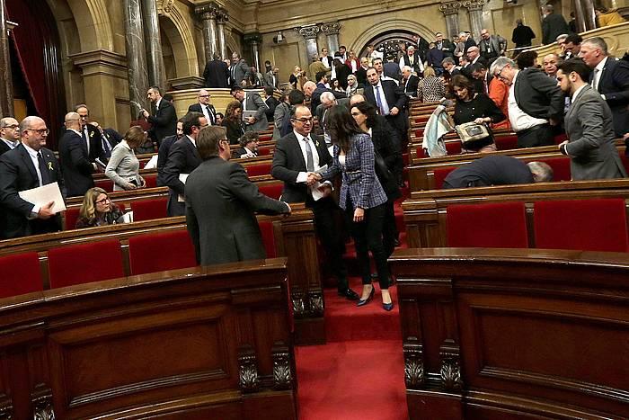 Kataluniako Legebiltzarra, atzo, auzi saioa amaitu zenean. /