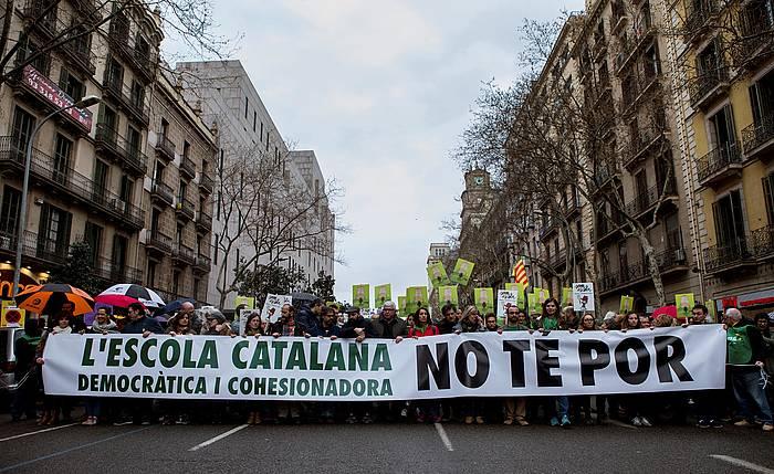 Kataluniako Hezkuntza defendatzeko manifestazio bat. / ©Enric Fontcuberta, Efe