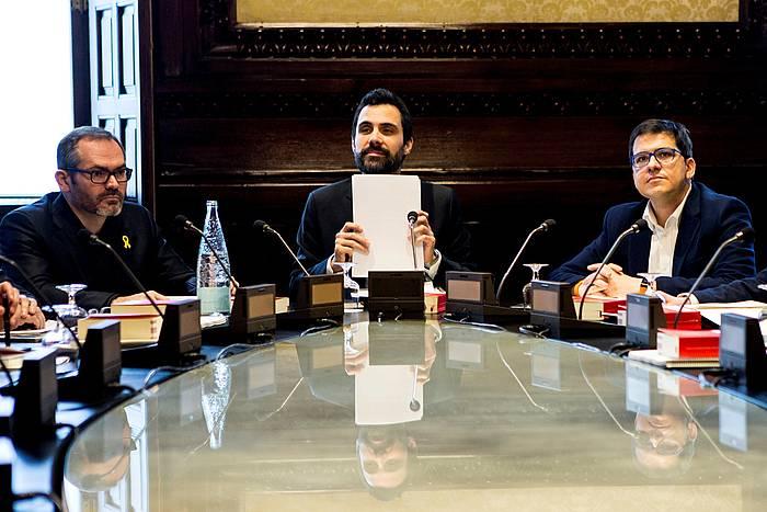Roger Torrent Kataluniako Parlamentuko presidentea, gaur, parlamentuko mahaiko bileran. / ©Quique Garcia, EFE