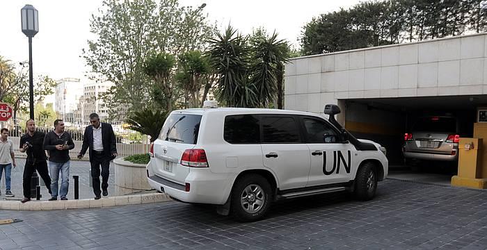 OPCW taldeko ikuskatzaileak, Damaskora iristen, apirilaren 14an. ©Youssef Badawi, EFE