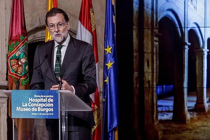 Mariano Rajoy, atzo, Burgosko (Espainia) ospitalea eraberritzeko sinadura ekitaldian.
